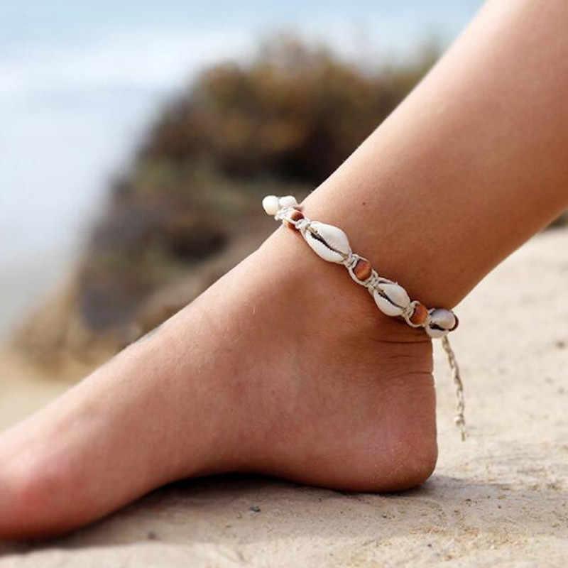 Simples escudo natural tornozeleira 2018 boêmio verão praia pulseira para as mulheres cor prata dupla camada pé jóias atacado