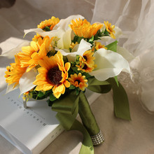 Yellow sunflowers&cala lily Buque de noiva Bouquets For Brides Brooch Wedding Outside Artificial flowers