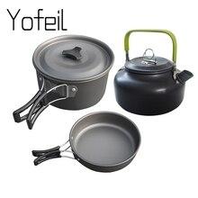 Ультра-легкий алюминиевый сплав походная посуда для приготовления пищи на открытом воздухе чайник для пикника Посуда чайник сковорода 3 шт./компл. комплект