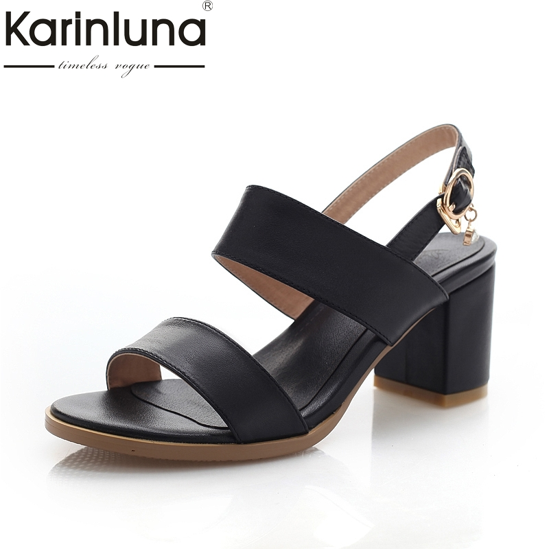 Karinluna 2018 New Sandals Of High Quality Cowhide Genuine Leather Summer Shoes Women Square Heels Woman Shoes Big Size 33-43