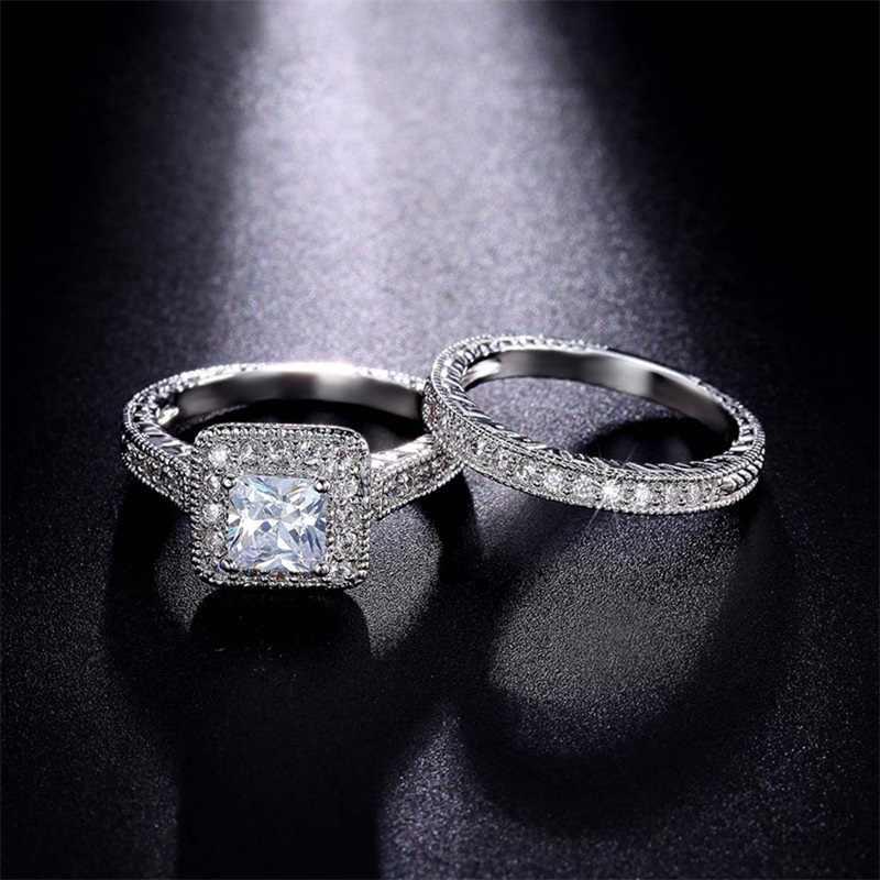 Yanhui feminino cúbico cz anéis conjunto de luxo 925 prata sólida jóias anel de casamento banda promessa anéis de noivado para mulher zr293
