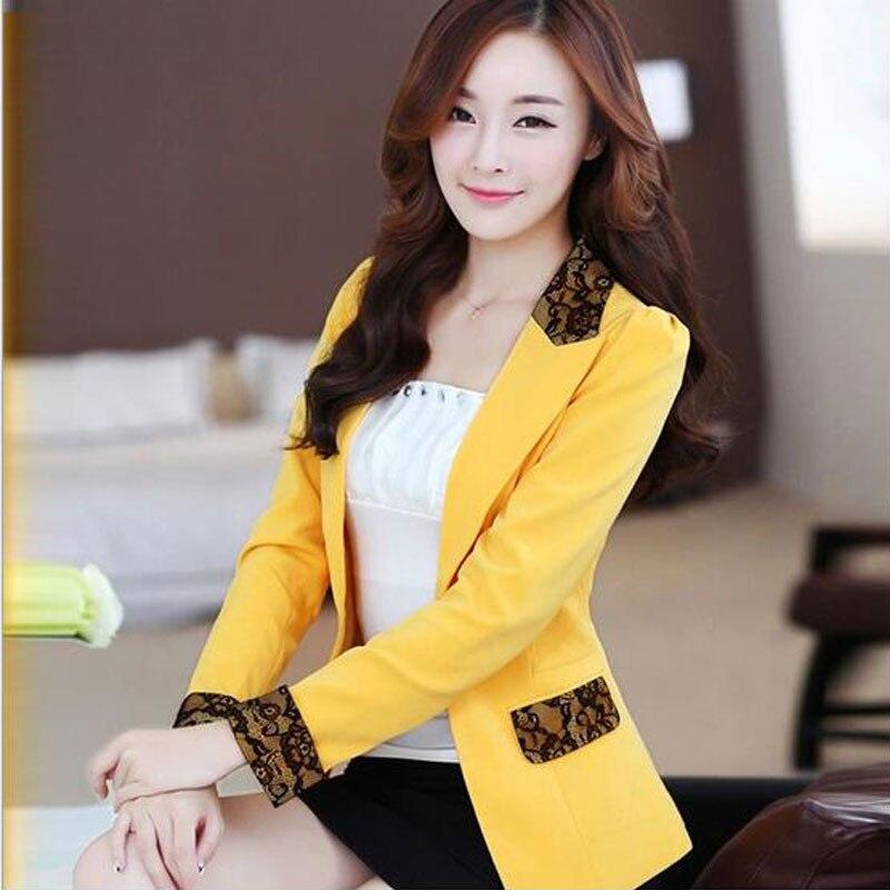À 2019 Blazer jaune En Longues Dentelle Taille Automne Work Suit Manteaux 5xl Noir Plus Ol Vestes Printemps Mince Casual blanc Femmes Wear Veste Manches XgqwrX