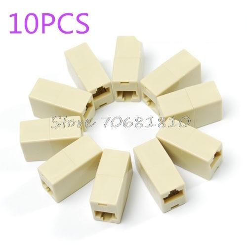 10PCS RJ45 RJ-45 Ethernet Net network LAN Coupler Plug Adapter connections Z17 Drop Ship practical 50pcs rj45 female to female network ethernet lan connector adapter coupler drop shipping
