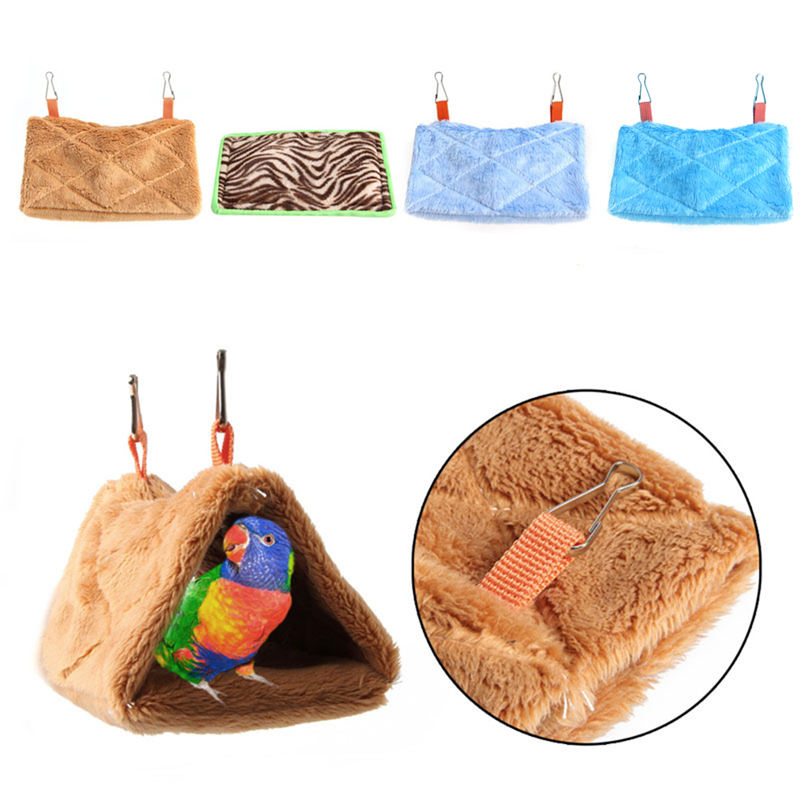 Triangle Square Plush Nest Bird Parrot Hanging Cave Hammock Cage Warm Bed Toy Selected Material Home & Garden Pet Products