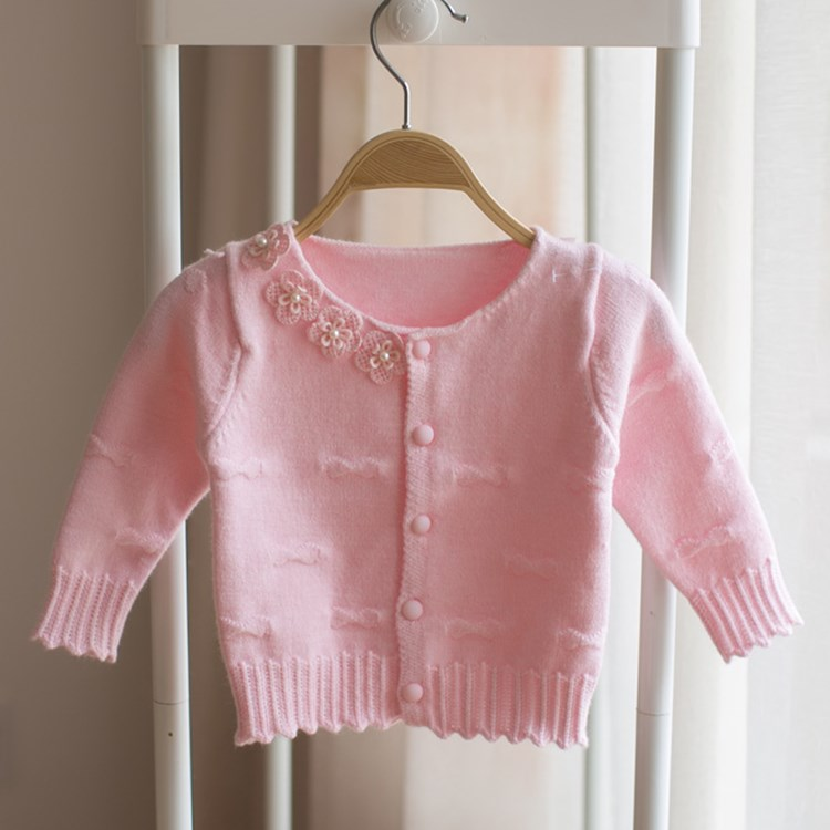 retail 2016 spring autumn girls baby knitted cardigan new girl baby cotton jacket flowers baby sweater coat for newborn jumper