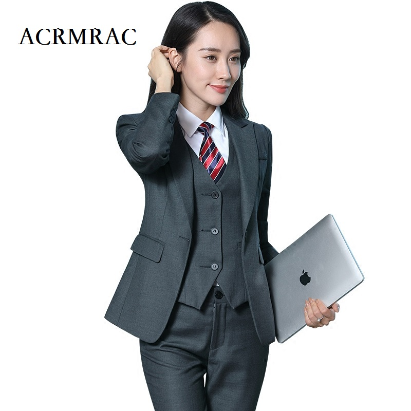 ACRMRAC New 2018 Womens clothing Long sleeves Solid color Slim jacket pants shirt Single Button Business OL Formal Pant Suits