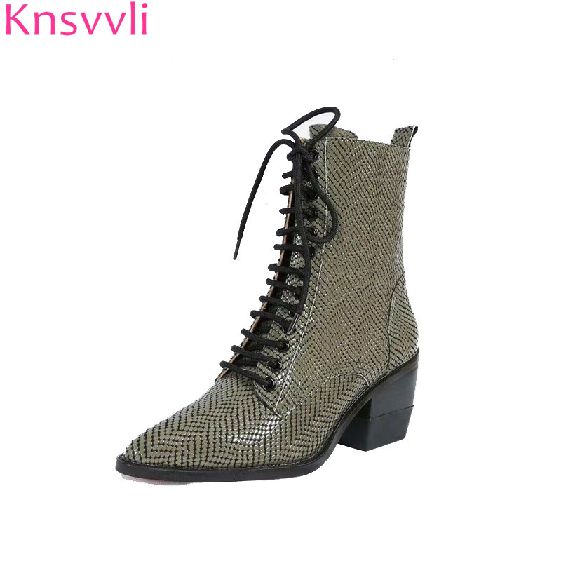 Red snake print ankle boots women patent leather front cross tied martin boots females chunky high heel women motorcycle boots red criss cross leaf print zip front tank