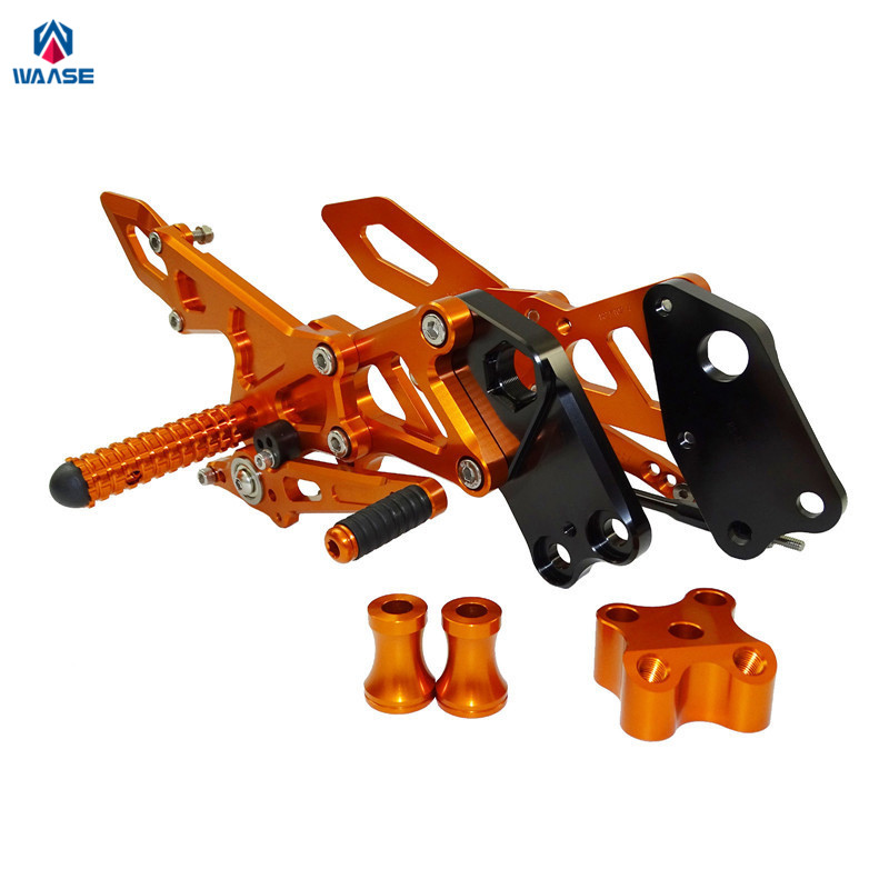 waase Adjustable Rider Rear Sets Rearset Footrest Foot Rest Pegs For KTM RC125 RC200 RC390 RC