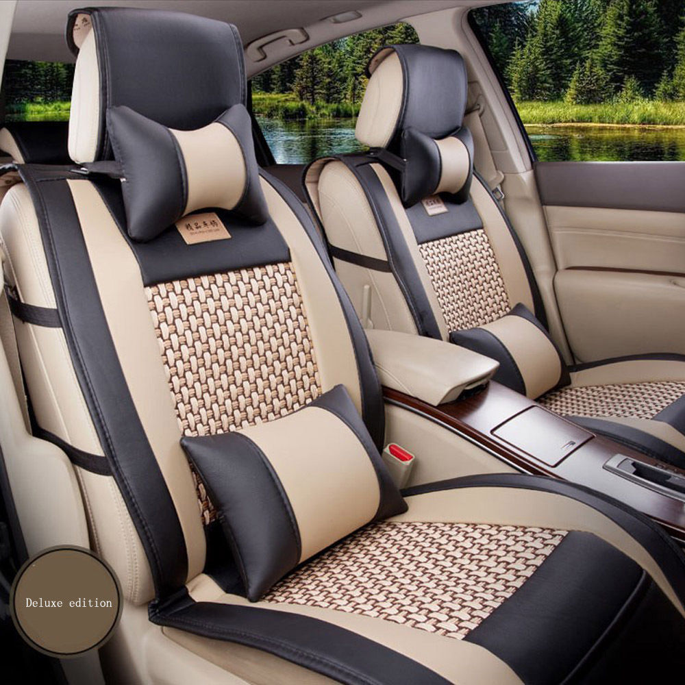 5-Seat PU Leather Car Seat Covers Universal Size M L for jeep ford focus subaru nissan volkswagen chevrolet mazda infiniti bmw pu leather automotive universal car seat covers t shit fit seat cover accessories for kia aio ford focus 2 lada granta toyota