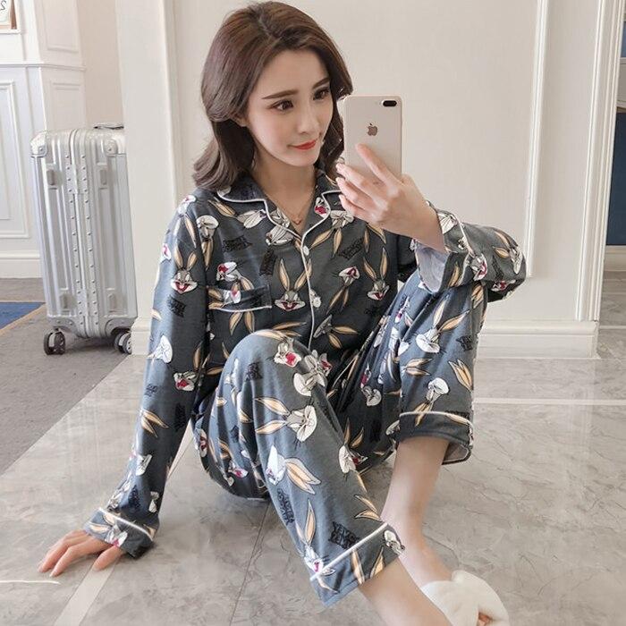 ea7fbf0349 Otoño Invierno 2018 mujeres Pijama de algodón femenino lindo imprimir  conjunto de pijamas de NightSuit ropa de dormir conjuntos de dama conjunto  de pijamas ...