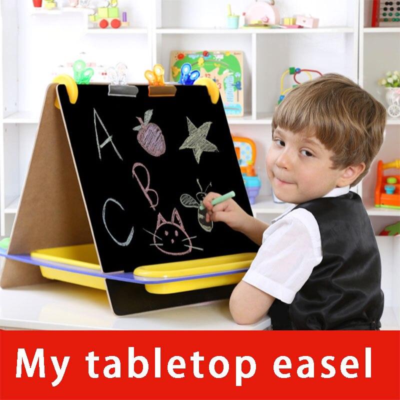 Kreative Mini Multifunktions Kinder Holz Doppel Zeichnung Bord Tafel Tabletop Schreiben Staffelei Lernen Bildung Spielzeug
