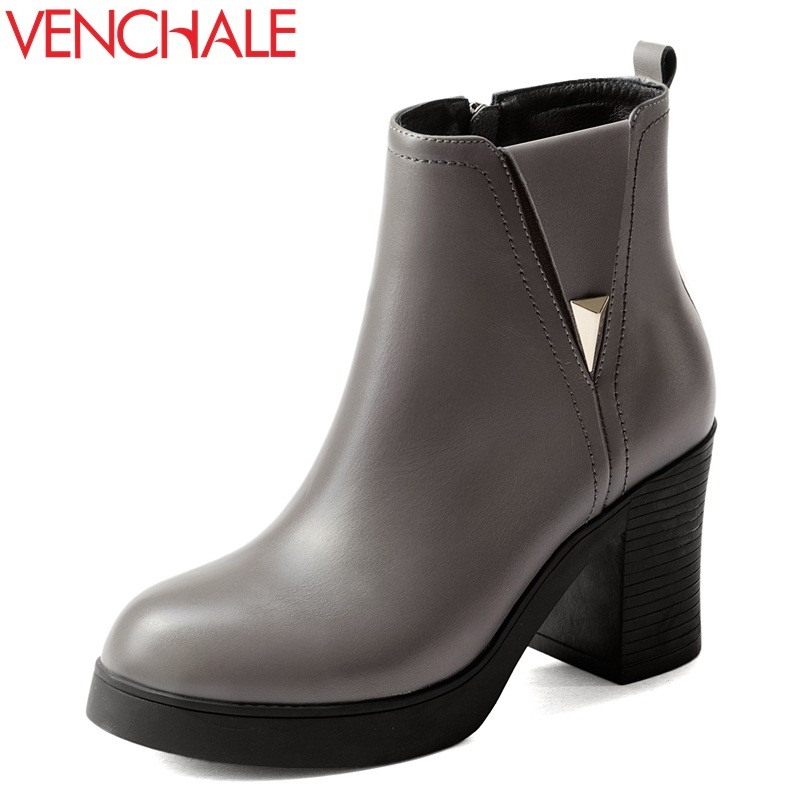 VENCHALE women fashion ankle boots good quality platform high heels party shoes ladies round toe genuine leather zipper booties front lace up casual ankle boots autumn vintage brown new booties flat genuine leather suede shoes round toe fall female fashion