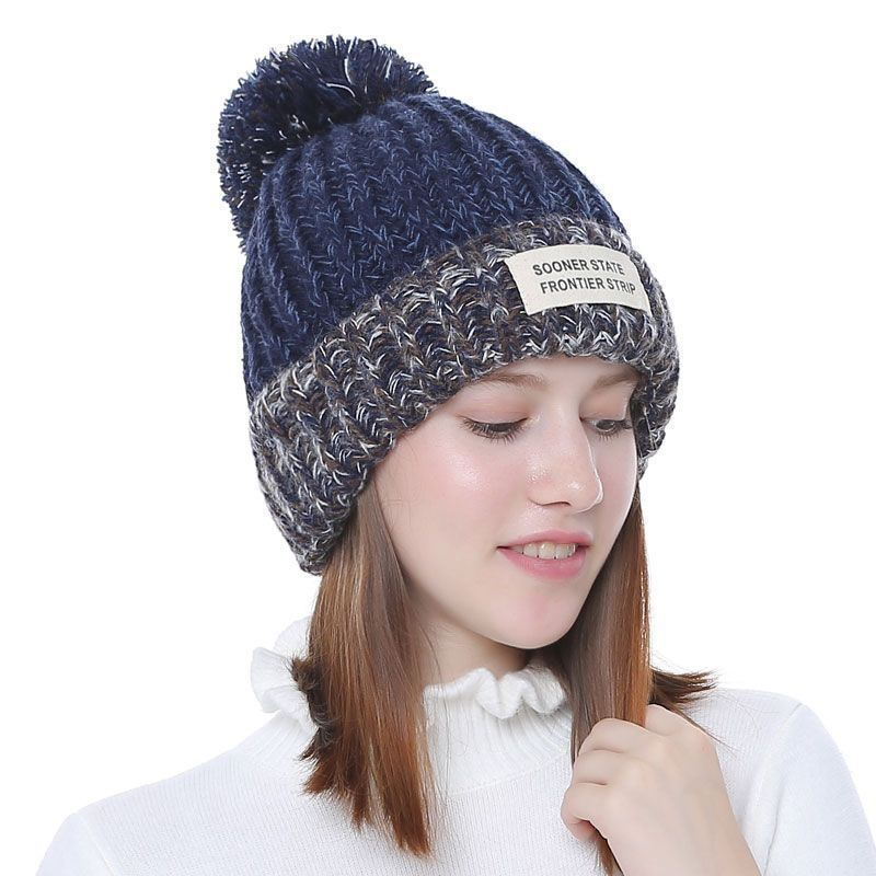 a6812b9e3 Knitted Women Beanies With Pompon Winter Female Beanie Casual Hats ...