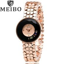 MEIBO Brand Luxury Sapphire Glass Rose Gold Alloy Band Bracelet Watch Women Analog Quartz Watch Lady