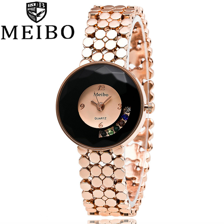 MEIBO Brand Luxury Sapphire Glass Rose Gold Alloy Band Bracelet font b Watch b font font