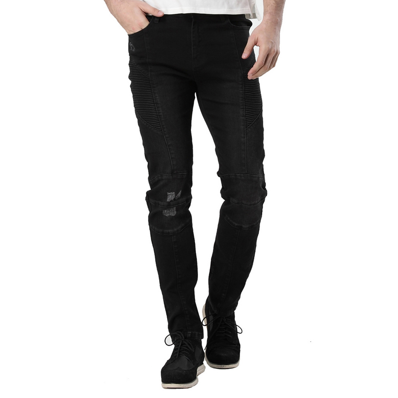 2016 Men's Ripped Biker Runway Stretch Jeans Distressed Washed Black Denim Motorcycle Fashion Slim Hip Hop Urban Jeans ZY-1002