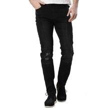2016 männer Zerrissene Biker Runway Stretch Jeans Distressed Gewaschen Black Denim Motorrad Mode Schlank Hip Hop Städtischen Jeans ZY-1002