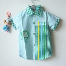 Retail Children's Clothing Plaid Pattern Boy's Shirt Baby Boys' Summer Tops LKC156(China)