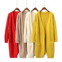 2018 Autumn Women Sweater Knitting Open Stitch Women Cardigans Coat Women Poncho White Red Yellow Women Sweater Femme