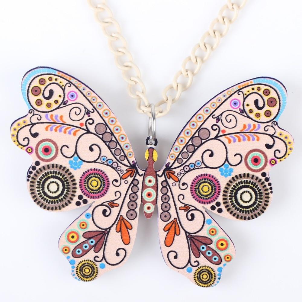 Bonsny papillon collier pendentif long motif acrylique chaud - Bijoux fantaisie - Photo 5