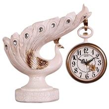 Europejski czerwony wina ramki Peacock osobowości sztuki zegar salon dekoracji modne dekoracje do domu restauracja zegar tanie tanio Zegary biurkowe Igła Europa Żywica