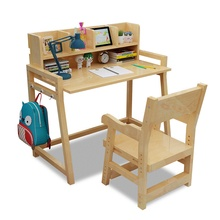 Children Furniture Sets One Table+one Chair Sets Solid Wood Lifting Study  Table And Chair