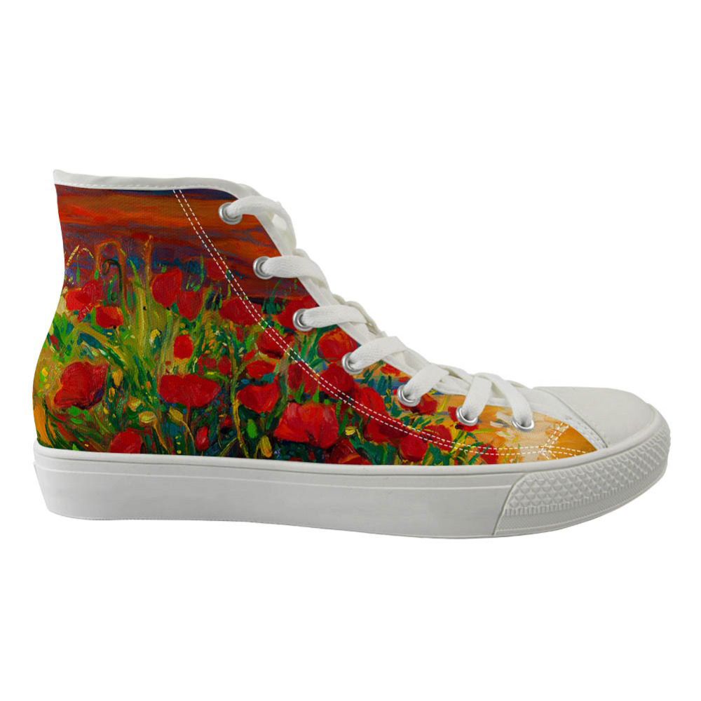Fashion Flower Painting High Top Canvas Womens Sneakers Shoes Spring High-top Leisure Vulcanized Women Flats ShoesFashion Flower Painting High Top Canvas Womens Sneakers Shoes Spring High-top Leisure Vulcanized Women Flats Shoes