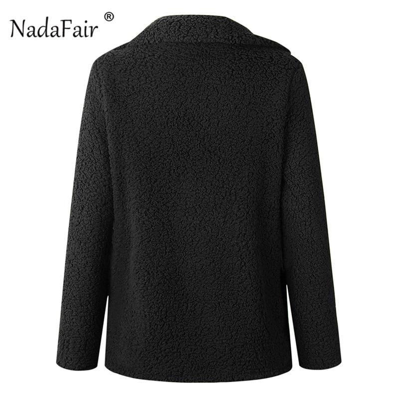 Nadafair plus size fleece faux fur jacket coat women winter pockets thicken teddy coat female plush overcoat casual outerwear 33