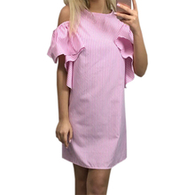 Kawaii Ruffles Pink Striped Dresses Casual Beach Women Summer Dress Cold Shoulder Party Robe 2018 Sexy Sundress Gv743