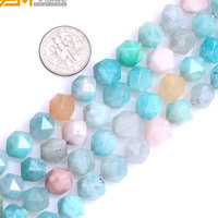 Gem Inside AAA Grade Natural Faceted Multicolor Peru Amazonite Beads For Cambay Jewelry Making 15inches DIY