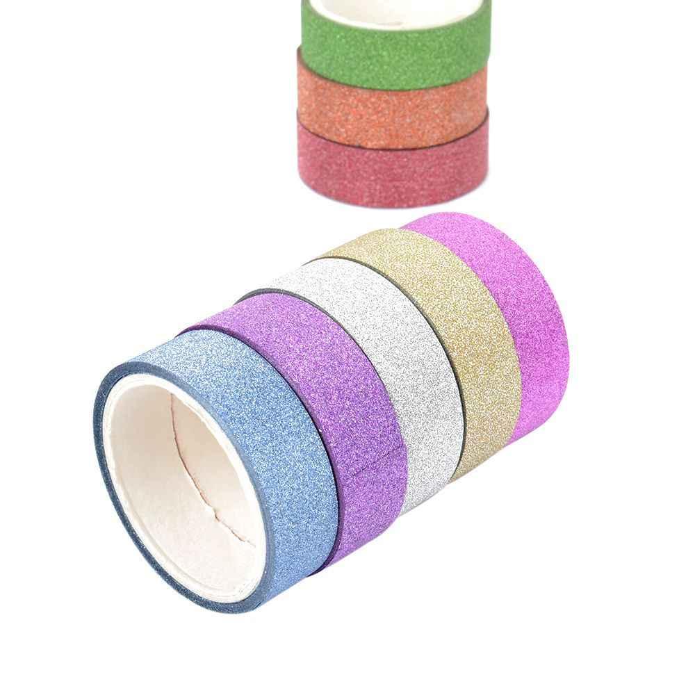Banyak Warna Glitter Masking Washi Tape Scrapbooking Dekoratif Pita Perekat Kertas DIY Pesta Valentine Dekoratif Kertas Stiker