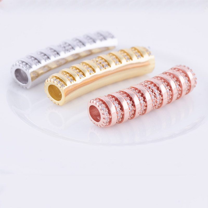 Rose Gold/Silver Colors CZ Micro Pave Components Brass Metal Pave Jewelry Tubes Fine Jewelry For Women Bracelet DIY 5pcs/Lot