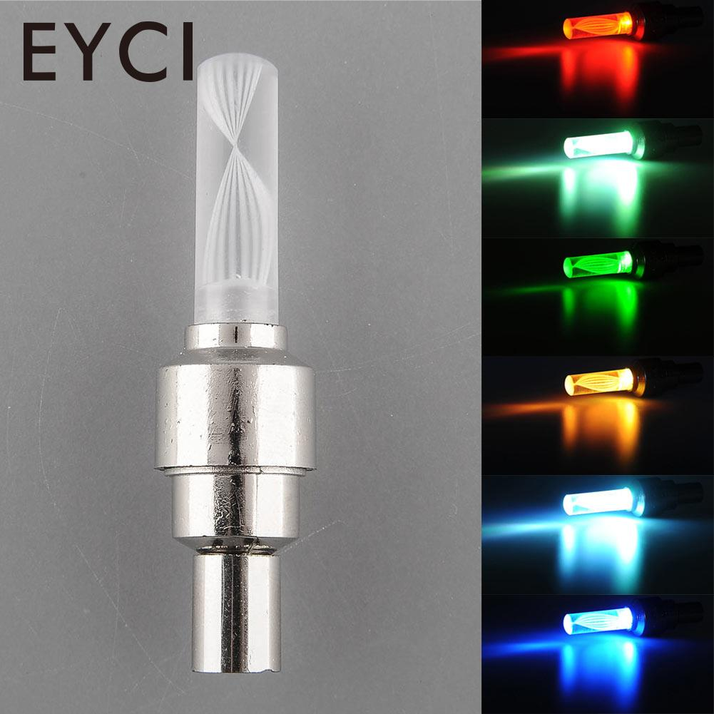 Bike Bicycle Car Motorbicycle Wheel Tire Tyre Valve Cap Colorful LED Flashlight Night Flash Light Lamp Safety