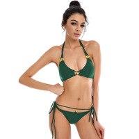 2017 New Bandage Solid Color Bikini Set Strappy Tankini Swimsuit Bathing Suit Swimwear For Women Beachwear