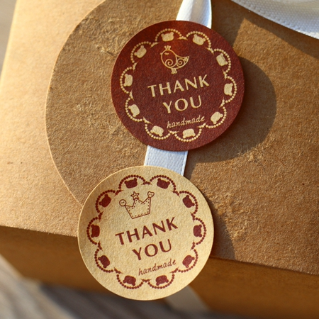 Round thank you seal sticker handmade sticker handmade kraft stickers handmade labels 400pcs lot in cake decorating supplies from home garden on