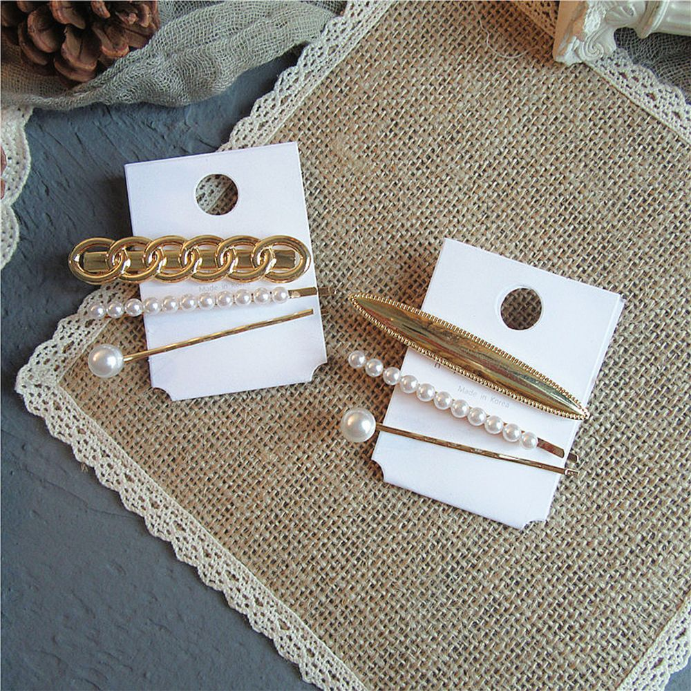 2019 New arrival Vintage 3Pcs Pearl Metal Hair Clip Hairband Comb Bobby Pin Barrette Hairpin Headdress