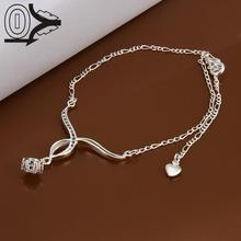 Lose Money!!Wholesale Silver Plated Anklets,Fashion Silver Foot Jewelry,Hanging Zircon Inlaid Stone Anklets Bracelet For Gift