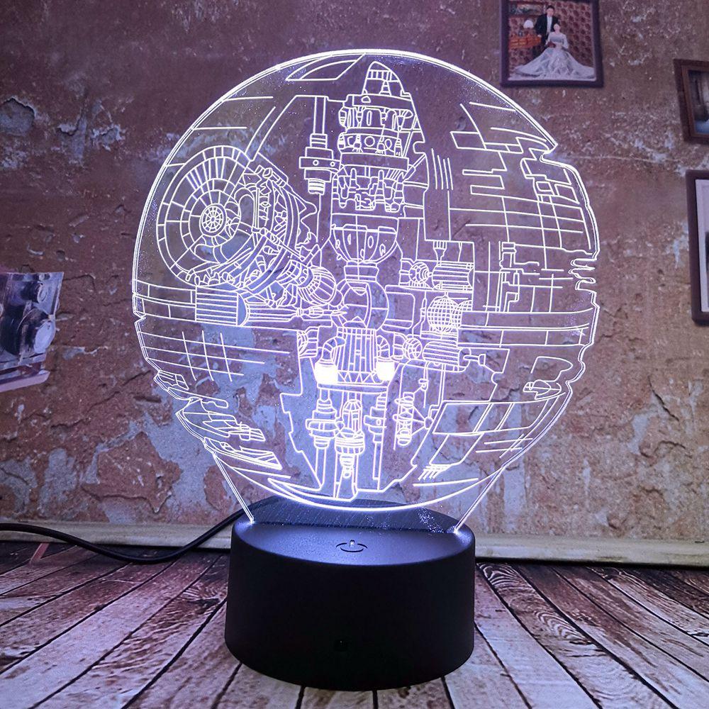 Heb Een Onderzoekende Geest Cool 3d Star Wars Death Star 7 Gradiënt Auto Kleur Illusie Lichten Led Licht Kind Kids Licht Speelgoed Decor Lights Nieuwe Jaar Geschenken 100% Garantie