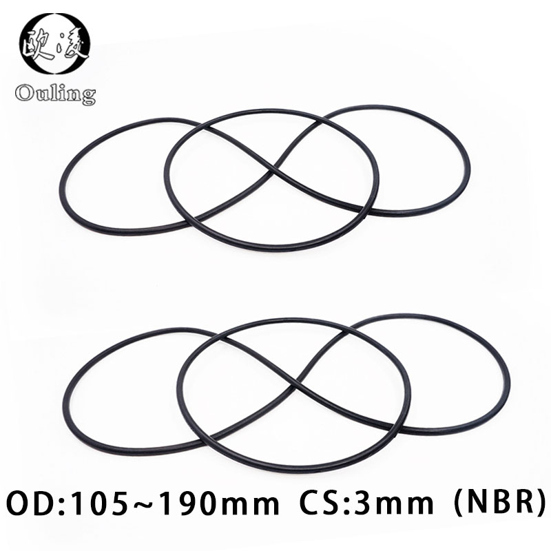 Rubber Ring Black NBR Sealing O Ring CS3mm OD105/110/120/125/130/140/150/160/190*3mm O-Ring Seal Nitrile Gaskets Oil Ring Washer