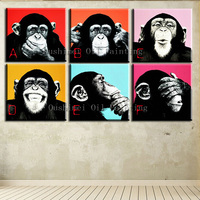 New Hand Painted Modern Funny Orangutans Picture On Canvas Animals Painting Hang Paintings For Decor Monkey