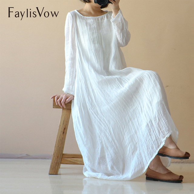 07dae7a0b41 Faylisvow 5XL Cotton Plus Size Dress Women Vintage Solid White O Neck Linen  Maxi Dresses Female Boho Loose Summer Autumn Dress