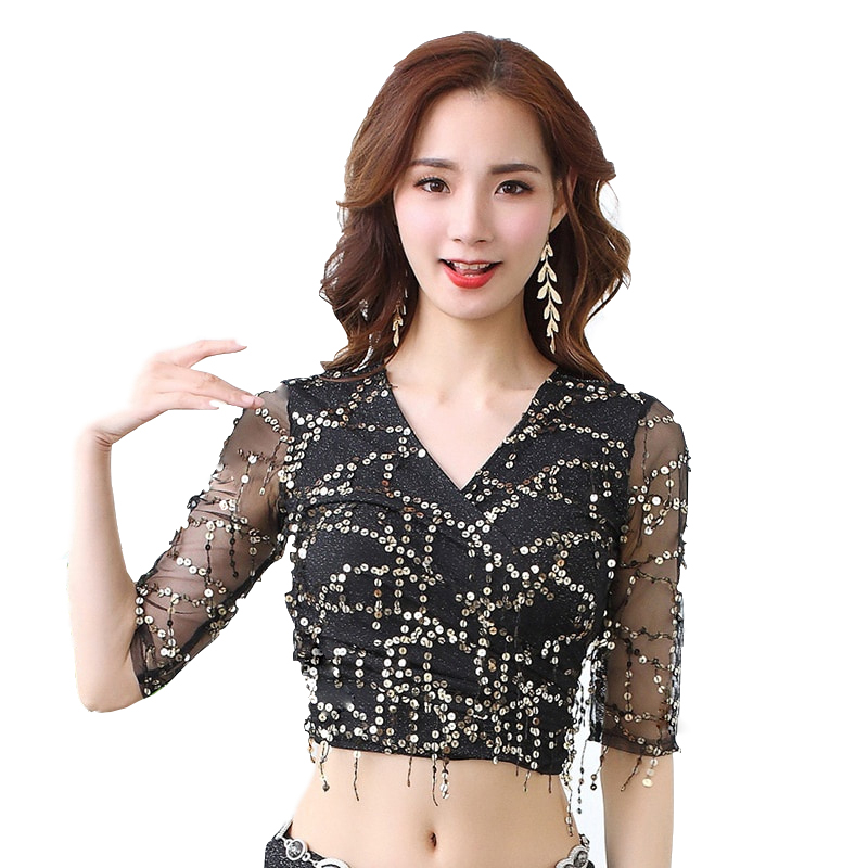 2019 New Women Dance Wear Costume Accessories Elastic Mesh Base With Sequins Fringes Belly Dance Shinny Tops Class Wear