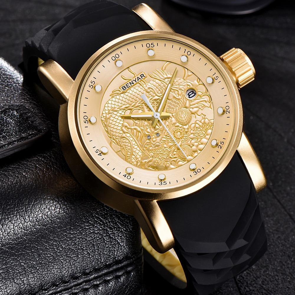 цена на New BENYAR Hot Mens Watches Military Army Top Brand Luxury Sports Casual Waterproof Men Watch Quartz Rubber Man Wristwatch Clock