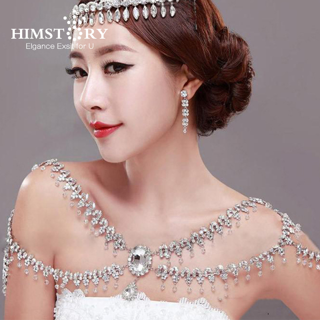 HIMSTORY Luxury Queen Large Crystal Flower Pendent Bridal Shoulder Necklace Chain Wedding Party Jewelry Accessory