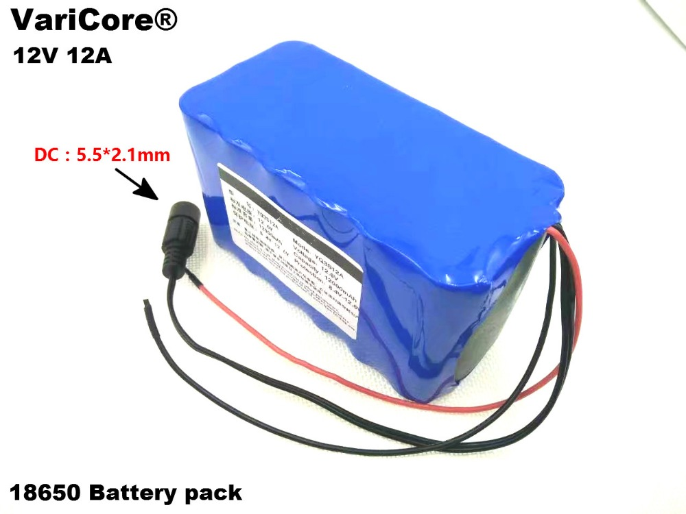 12 V 18650 <font><b>Lithium</b></font>-<font><b>ion</b></font> <font><b>Battery</b></font> Pack <font><b>12Ah</b></font> Protection plate 12.6V 12000mAh Hunting lamp xenon Fishing Lamp USE image