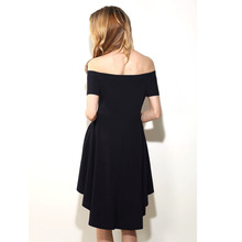 Women Dress Summer Style Off Shoulder Dresses Slash Neck Beach Solid Dress Knee-Length Hot Sale Female Sexy Vintage Dinner Dress