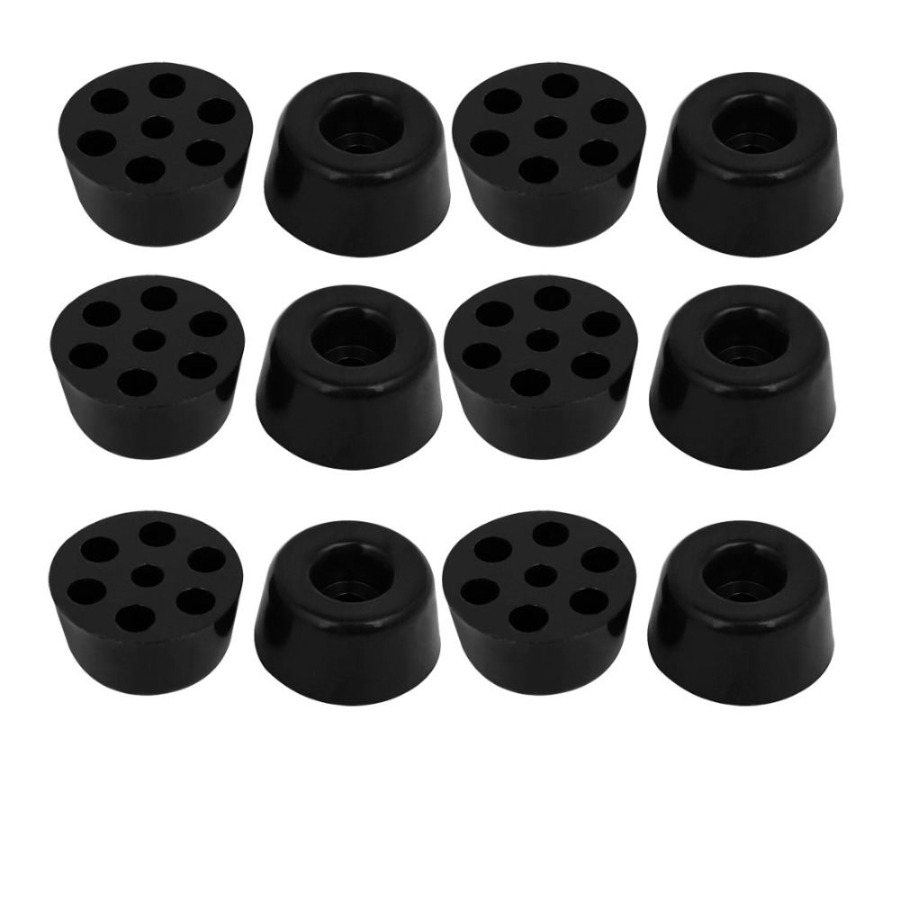 UXCELL 12pcs 20mmx10mm Rubber Cone Shaped Furniture Foot Pads Floor Protectors Black White