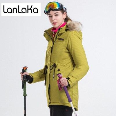 LANLAKA Marque Nouveau Ski Veste Femmes D'hiver Manteau Imperméable Ski Snowboard vestes Foncé-Jaune de Haute Qualité Ski Veste Femme