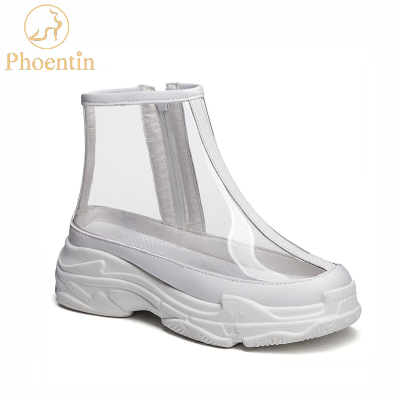 Transparent boots sexy pvc with zip womens sneakers shoes 2019 fashion female sneakers boots waterproof womens PHOENTIN PH139Transparent boots sexy pvc with zip womens sneakers shoes 2019 fashion female sneakers boots waterproof womens PHOENTIN PH139