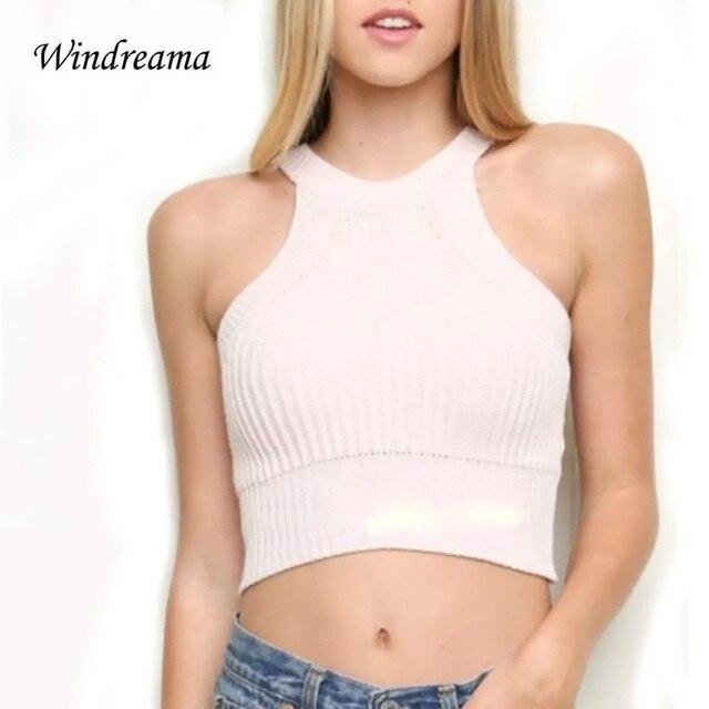 ff194ce06fa Новая Мода Европейский Дизайн Женщины Crop Топ С Плеча Обрезанные Майка  Летом Стиль Рукавов Топы Небольшой